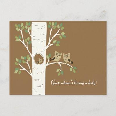 Owl Nest in a Tree Invitation Postcard