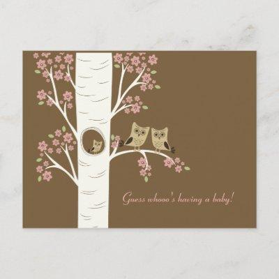 Owl Nest in an Autumn Tree Invitation Postcard