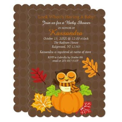 Owl On A Pumpkin Baby Shower Invitation