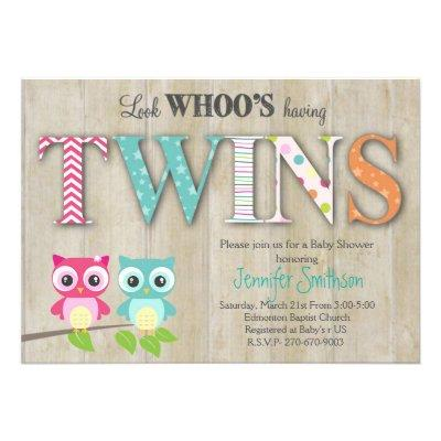 Owl TWINS - Look Whoo's Having a Baby Invitations
