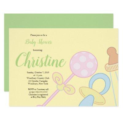 Pacifier bottle rattle Yellow baby shower Invitations