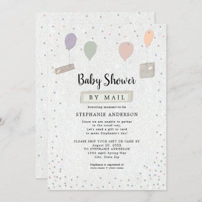 Packages + Balloons neutral Baby Shower by mail Invitation