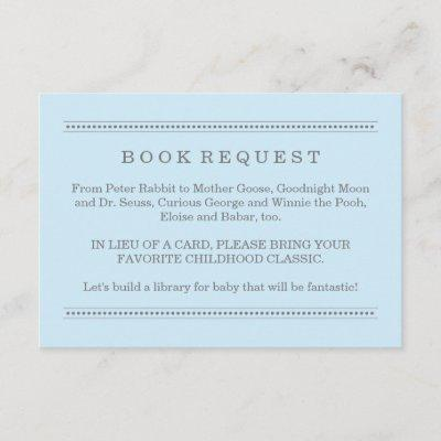 Pale Blue Book Request Boy Baby Shower Enclosure Card