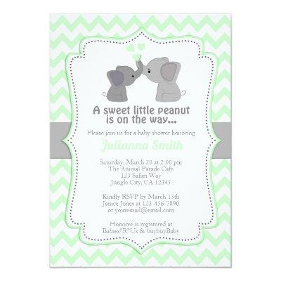 Pale Lime Elephant Baby Shower Invitations Chev 473