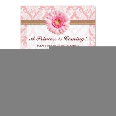 Pale Pink and Brown Daisy Invitations