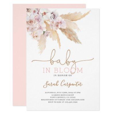 Pampas Grass Baby in bloom shower girl invitation