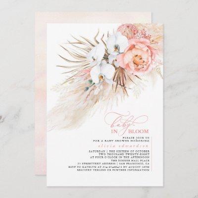 Pampas Grass Blush Pink Baby in Bloom Baby Shower Invitation