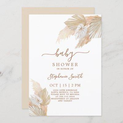 Pampas Grass Boho Chic Baby Shower Invitation