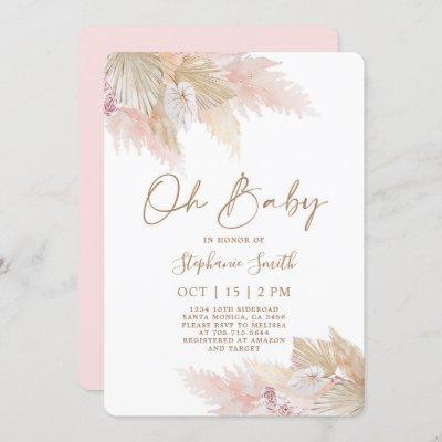 Pampas Grass Pink Boho Chic Baby Shower Girl Invitation