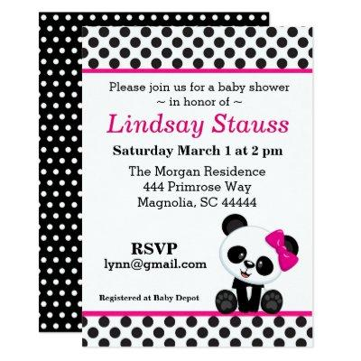 Panda Bear Pink Baby Shower Invitations