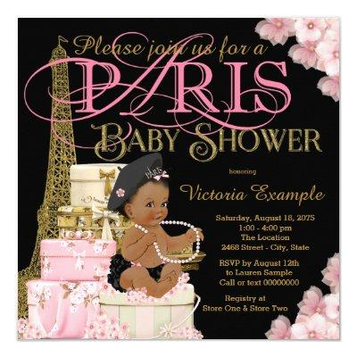 Paris Baby Girl Shower Invitations