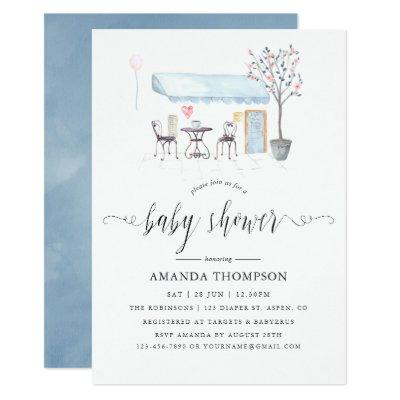 Paris Cafe Watercolor Baby Shower Invitations