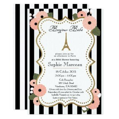 Paris French Baby Shower Invitations