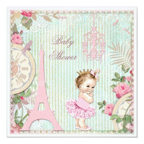 Paris Princess In Tutu Shabby Chic Invitations