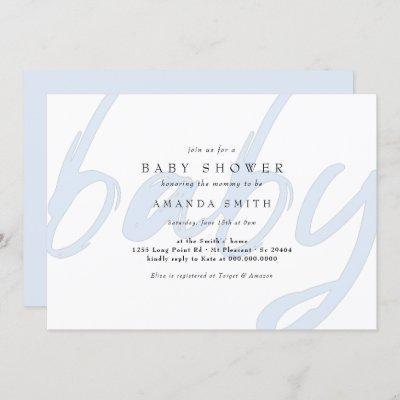 Pastel Blue Minimal Modern Baby Boy Shower Invitation