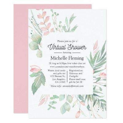 Pastel Blush Greenery Virtual Baby Shower Invitation