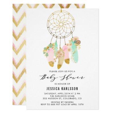 Pastel Dreamcatcher Faux Gold Foil Baby Shower Invitations