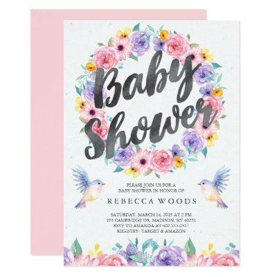Pastel Floral Watercolor Baby Shower Invitation