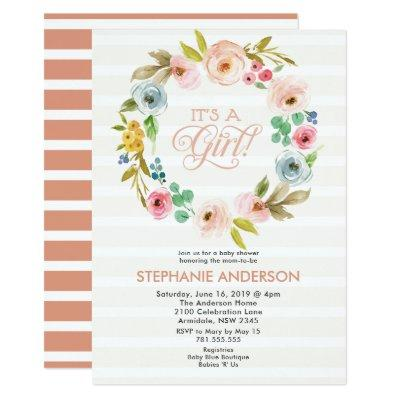 Pastel floral watercolor baby shower Invitations