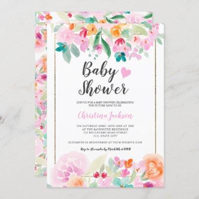 Pastel floral watercolor summer gold baby shower invitation