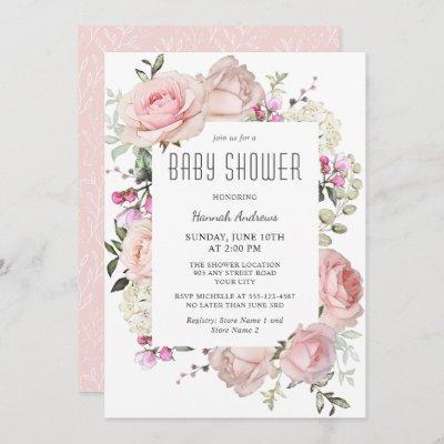 Pastel Pink Garden Roses Baby Shower for Girl Invitation