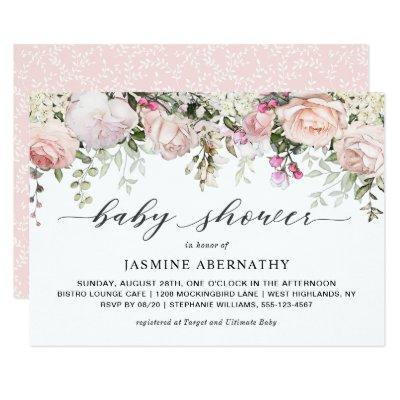 Pastel Pink Roses Baby Shower Invitations