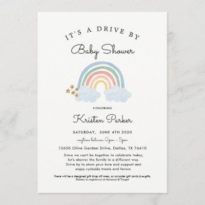 Pastel Rainbow Drive By Baby Shower Invitation Boy