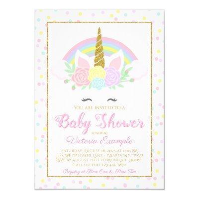 Pastel Unicorn Face Rainbow Baby Shower Invitations