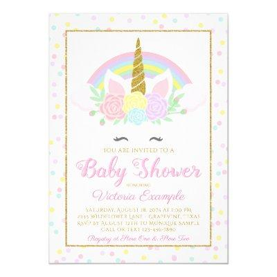Pastel Unicorn Rainbow Baby Girl Shower Invitation