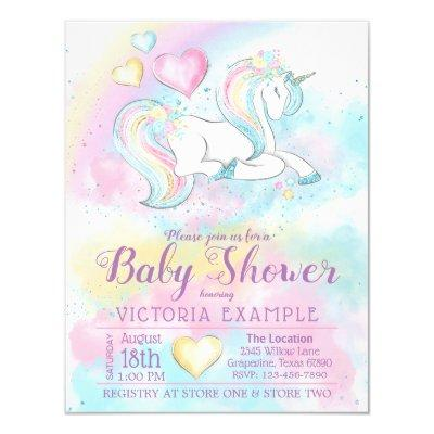Pastel Unicorn Rainbow Girl Baby Shower Invitation
