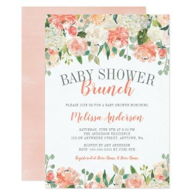 Pastel Watercolor Flower Brunch Baby Shower Invite