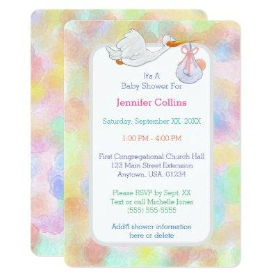 Pastel Watercolors Stork with Bundle Invitations