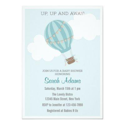 Patchwork Hot Air Balloon Baby Shower Invitations