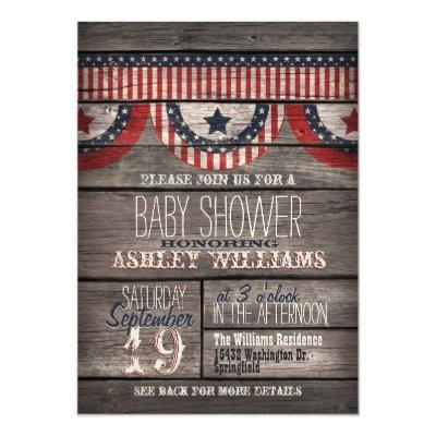 Patriotic Stars & Stripes, Rustic Wood Invitations