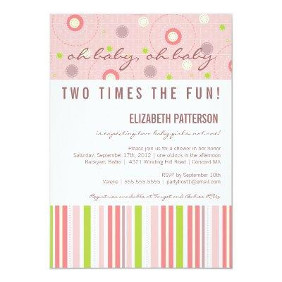 Patterns of Fun Twin Girl Baby Shower Invitation