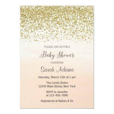 Peach and Gold Baby Shower Invitations