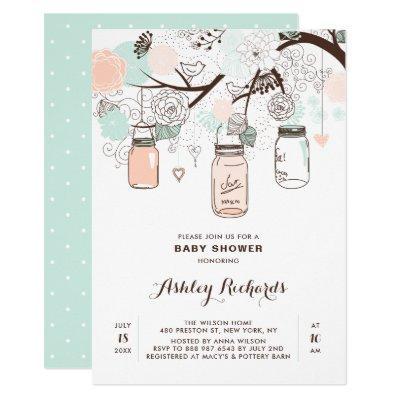 Peach and Mint Mason Jars Baby Shower Invitations