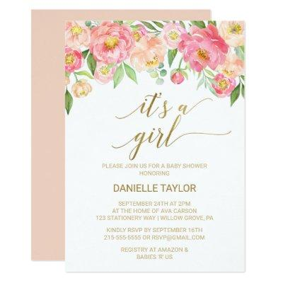 Peach and Pink Peony Flowers It's A Girl Invitation