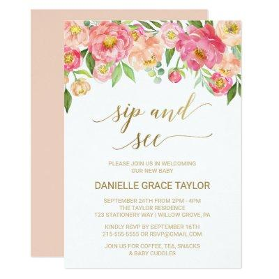 Peach and Pink Peony Flowers Sip and See Invitations