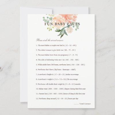Peach Blush Floral Fun Baby Facts Baby Shower Game Invitation