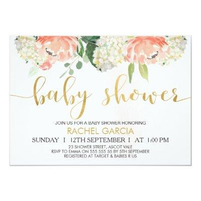 Peach Gold Floral Baby Shower Invitations