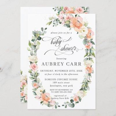 Peach Pink Ivory Floral Leafy Wreath Baby Shower Invitation