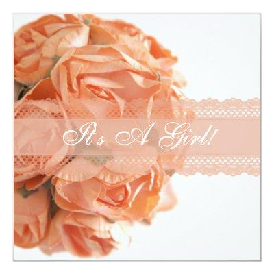 Peach Roses and Lace Baby Shower Invitation