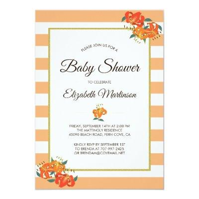 Peach Stripes Tiger Lilies Chic Floral Baby Shower Invitation