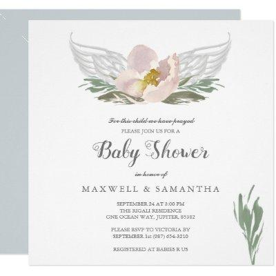 Peach Watercolor Florals Angel Wings Baby Shower Invitations