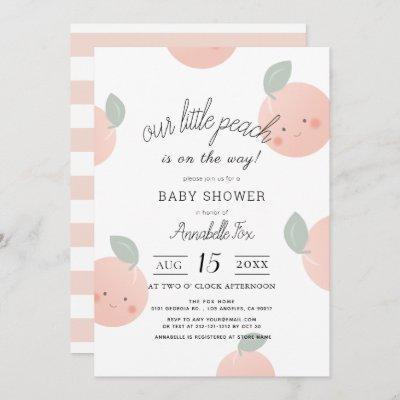 Peaches & Cream Cute Kawaii Baby Shower Invitation