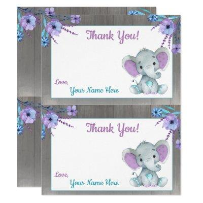 Peanut Elephant Thank You Cards 2 PAGE Purple Teal