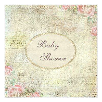 Pearls & Lace Shabby Chic Roses Baby Shower Invitation