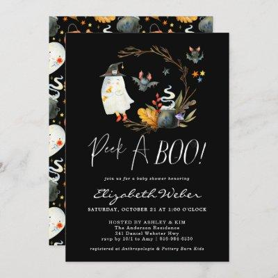 Peek-A-Boo | Little Ghost Halloween Baby Shower Invitation