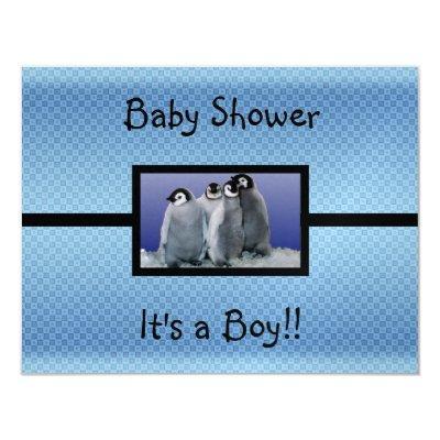 Penguin Baby Shower Boy Invitations